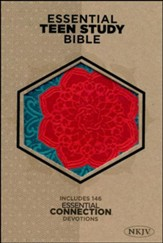 NKJV Personal Size Essential Teen Study Bible, Coral Flower LeatherTouch - Imperfectly Imprinted Bibles