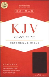 KJV Giant Print Reference Bible, Black LeatherTouch, Thumb-Indexed - Imperfectly Imprinted Bibles