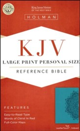 KJV Large Print Personal Size Reference Bible, Teal LeatherTouch, Thumb-Indexed - Imperfectly Imprinted Bibles