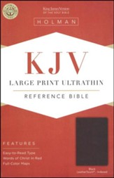 KJV Large Print Ultrathin Reference Bible, Black LeatherTouch, Thumb-Indexed