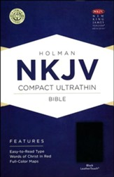 NKJV Compact Ultrathin Bible, Black LeatherTouch - Imperfectly Imprinted Bibles