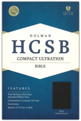 HCSB Compact Ultrathin Bible, Black LeatherTouch