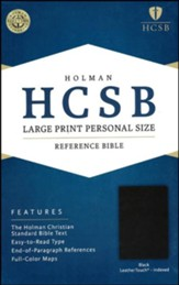 HCSB Large Print Personal Size Bible, Black LeatherTouch, Thumb-Indexed