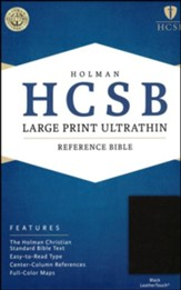 HCSB Large Print Ultrathin Reference Bible, Black LeatherTouch