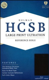 HCSB Large Print Ultrathin Reference Bible, Black LeatherTouch, Thumb-Indexed - Slightly Imperfect