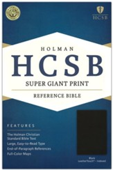HCSB Super Giant Print Reference Bible, Black LeatherTouch, Thumb-Indexed