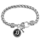 Cross and Initial, Letter D, Charm Bracelet, Silver and Black