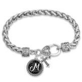 Cross and Initial, Letter M, Charm Bracelet, Silver and Black