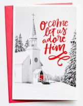 O Come Let Us Adore Him, Church, Christmas Cards, Box of 18