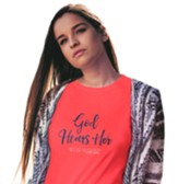 God Hears Her, Regular Fit Tee Shirt, Coral Silk, Adult Small