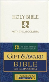 NRSV Gift & Award Bible with Apocrypha, Imitation leather, White  - Slightly Imperfect