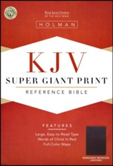 KJV Super Giant Print Reference Bible, Imitation leather, burgundy