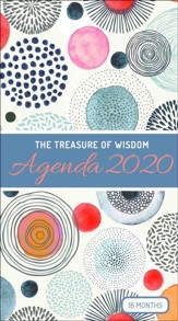 2020 The Treasure of Wisdom Pocket Planner, Peach and Smokey Gray Geometric Circles