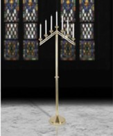 Seven-Light Brass Floor Candleabra