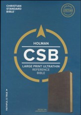 CSB Large Print Ultrathin Reference Bible, British Tan LeatherTouch  - Slightly Imperfect