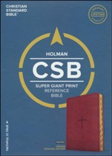 CSB Super Giant Print Reference Bible, Brown LeatherTouch, Thumb-Indexed - Slightly Imperfect