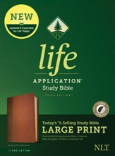 NLT Life Application Large-Print  Study Bible, Third Edition--soft leather-look, brown, tan, red letter (indexed)