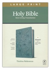 NLT Large-Print Thinline Reference  Bible, Filament Enabled Edition--soft leather-look, floral/teal