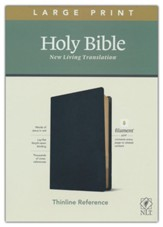 NLT Large-Print Thinline Reference Bible, Filament Enabled Edition--genuine leather, black