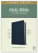NLT Large-Print Thinline Reference Bible, Filament Enabled Edition--genuine leather, blue