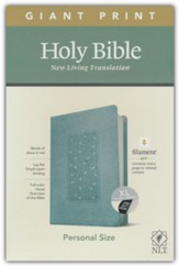 NLT Giant-Print Personal-Size Bible,  Filament Enabled Edition--soft leather-look, floral frame teal (indexed)