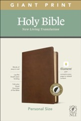 NLT Giant-Print Personal-Size Bible, Filament Enabled Edition--soft leather-look, rustic brown (indexed) - Slightly Imperfect