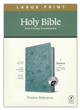 NLT Large-Print Thinline Reference Bible, Filament Enabled Edition--soft leather-look, floral/teal (indexed)