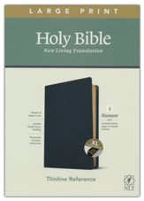 NLT Large-Print Thinline Reference Bible, Filament Enabled Edition--genuine leather, black (indexed)