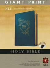 NLT Giant-Print Holy Bible--soft leather-look, teal blue (indexed)