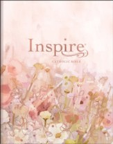 NLT Large-Print Inspire Catholic Bible--soft leather-look, pink fields with rose gold