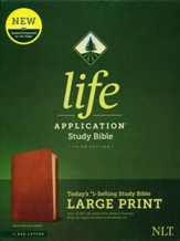 NLT Large-Print Life Application  Study Bible, Third Edition--genuine leather, brown