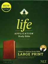 NLT Large-Print Life Application Study Bible, Third Edition--genuine leather, brown (indexed) - Slightly Imperfect