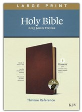 KJV Large-Print Thinline Reference Bible, Filament Enabled Edition--genuine leather, brown (indexed) - Slightly Imperfect