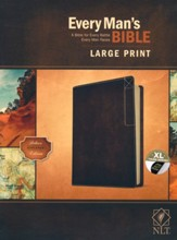 NLT Every Man's Large-Print Bible,  Deluxe Explorer Edition--soft leather-look, rustic brown (indexed)