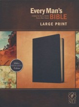 NLT Every Man's Large-Print  Bible--genuine leather, black