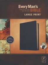 NLT Every Man's Large-Print  Bible--genuine leather, black (indexed)
