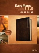 NIV Every Man's Large-Print Bible,  Deluxe Explorer Edition--soft leather-look, rustic brown
