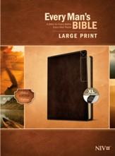 NIV Every Man's Large-Print Bible, Deluxe Explorer Edition--soft leather-look, rustic brown (indexed)