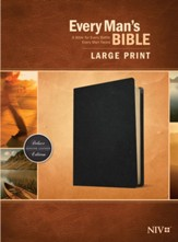 NIV Every Man's Large-Print  Bible--genuine leather, black