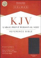 KJV Large Print Personal Size Reference Bible, Black Genuine Leather - Imperfectly Imprinted Bibles