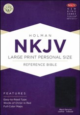 NKJV Large Print Personal Size Reference Bible, Black Genuine Leather, Thumb-Indexed