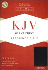 KJV Giant Print Reference Bible, Black Genuine Leather, Thumb-Indexed - Slightly Imperfect