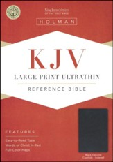 KJV Large Print UltraThin Reference Bible, Black Genuine Leather, Thumb-Indexed - Imperfectly Imprinted Bibles