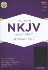 NKJV Giant Print Reference Bible, Black Genuine Leather, Thumb-Indexed