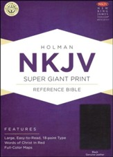 NKJV Super Giant Print Reference Bible, Black Genuine Leather