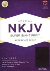 NKJV Super Giant Print Reference Bible, Black Genuine Leather, Thumb-Indexed
