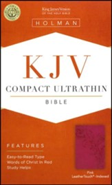 KJV Compact Ultrathin Bible, Pink LeatherTouch, Thumb-Indexed - Slightly Imperfect
