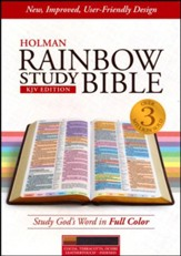 KJV Rainbow Study Bible, Cocoa, Terra Cotta, and Ochre LeatherTouch, Thumb-Indexed
