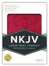 NKJV Large Print Compact Reference  Bible, Pink    Leathertouch