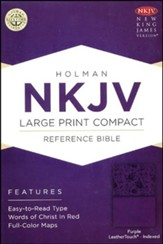 NKJV Large Print Compact Reference  Bible, Purple   - Slightly Imperfect